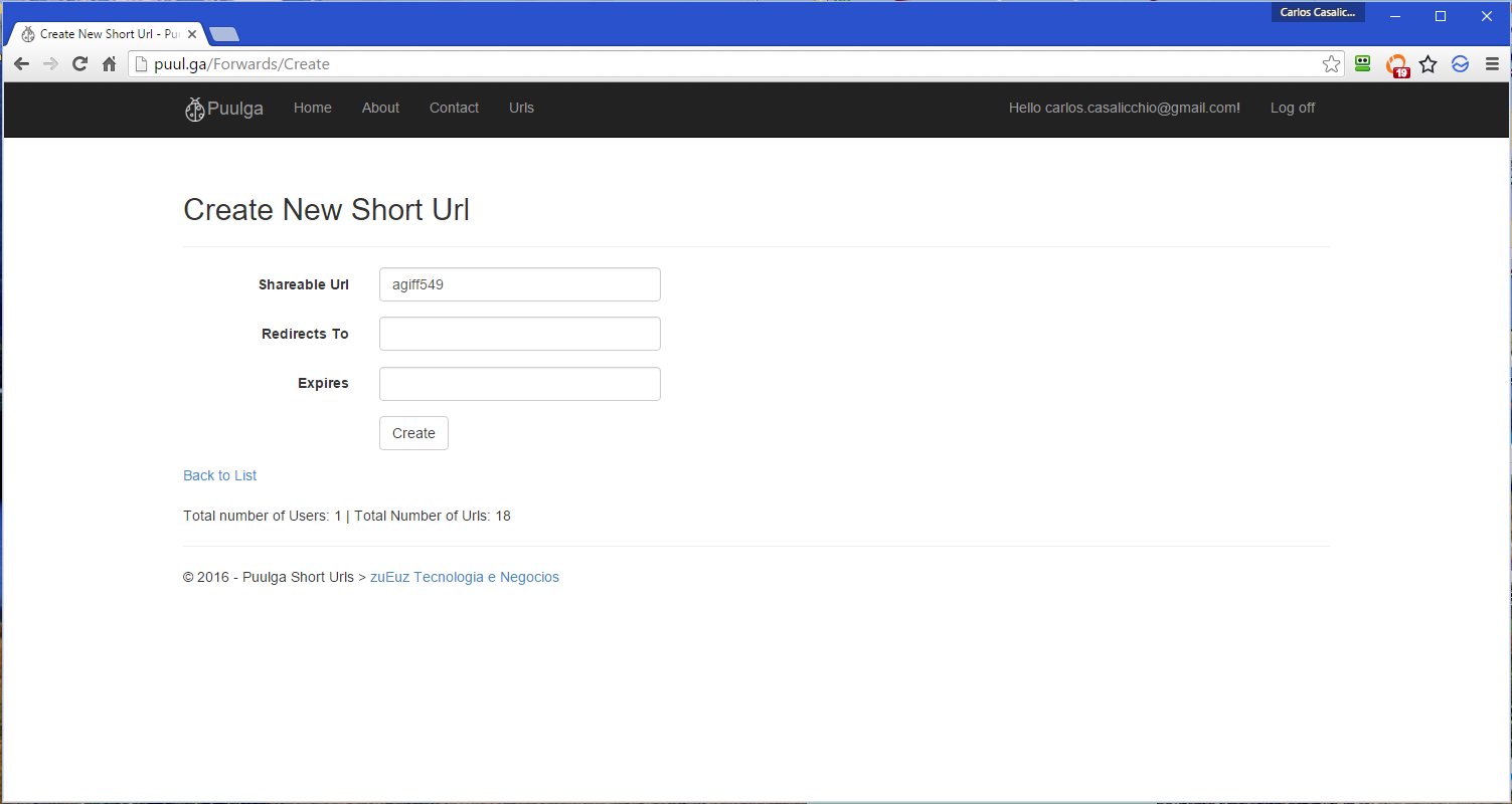 Create new Short Urls